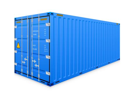 cargo container op een witte achtergrond. Stock Illustratie