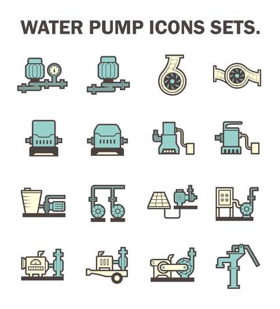 aguas residuales: Bomba de agua iconos conjuntos.