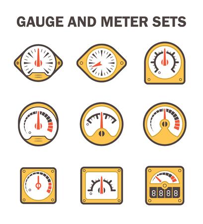 metre: gauge or meter sets. Illustration
