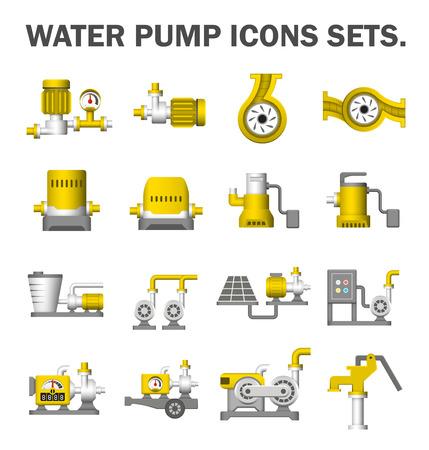 Pompe à eau icônes ensembles. Vecteurs