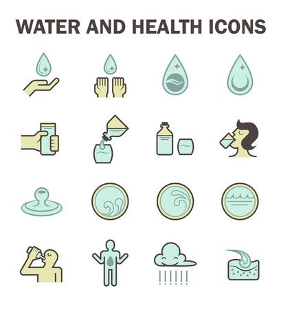 agua potable: icono de agua y la salud establece el diseño.
