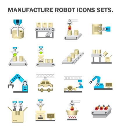 Robot y línea de producción de conjuntos de iconos.