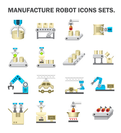 food production: Robot and production line icon sets.