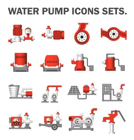 Bomba de agua iconos conjuntos.