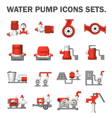 Waterpomp iconen sets.