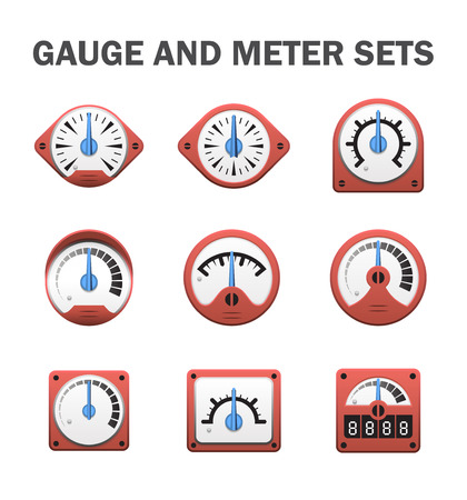 control tools: gauge or meter sets. Illustration