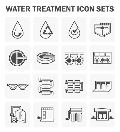 Water pollution: biểu tượng xử lý nước đặt thiết kế. Hình minh hoạ