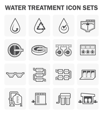 sewage treatment plant: Water treatment icon sets design.
