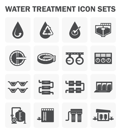 filtration: Water treatment icon sets design.