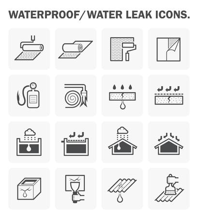 Abdichtung und Wasser sickerte Icon Design. Vektorgrafik
