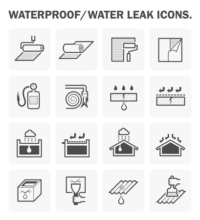 tar felt: Waterproofing and water leaked icon design.