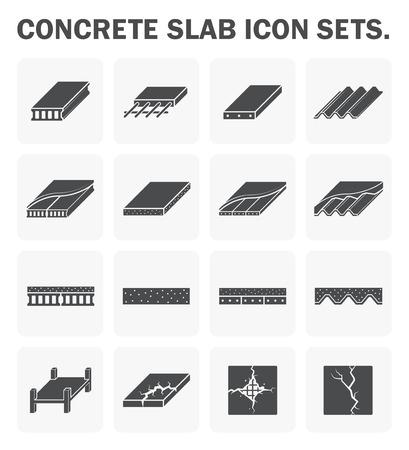 コンクリート スラブのアイコンは、デザインを設定します。  イラスト・ベクター素材