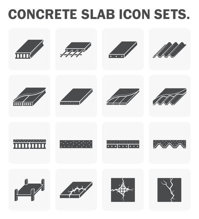 Concrete slab icon sets design. Stock Illustratie