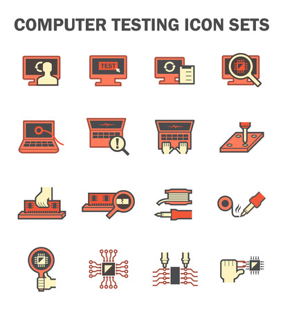 printed work: Computer testing icon sets design.