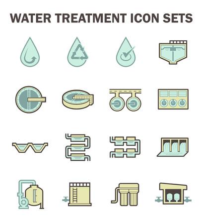 Icona di trattamento delle acque imposta design. Archivio Fotografico - 54492950