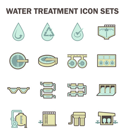 water tanks: Water treatment icon sets design.