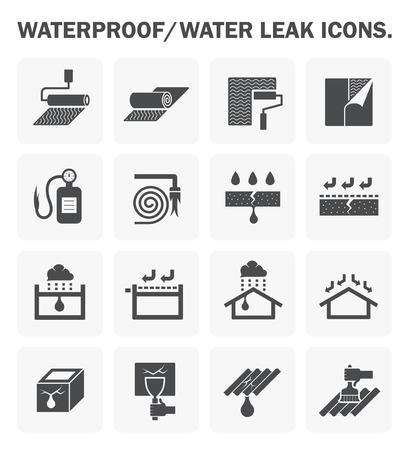 Impermeabilización y el agua filtrada diseño de iconos.