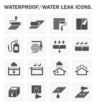 building fire: Waterproofing and water leaked icon design.