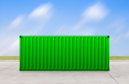 prefabricated: Green container with sky background. Stock Photo