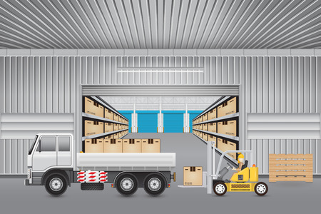 Forklift working with carton and truck outside warehouse.