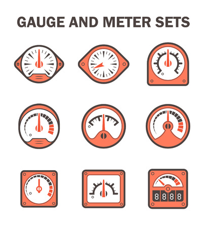 dial: gauge or meter sets. Illustration