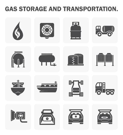 tanque: almacenamiento de gas y transporte icono de conjuntos. Vectores
