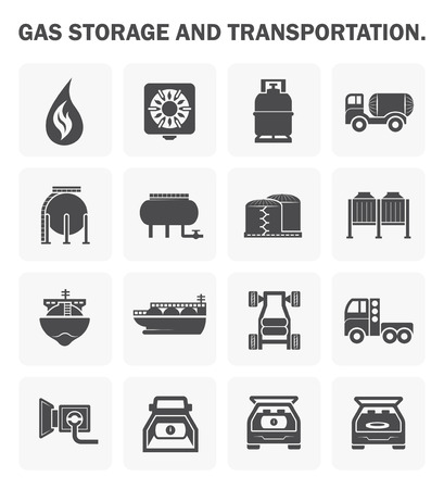 tanks: Gas storage and transportation icon sets.