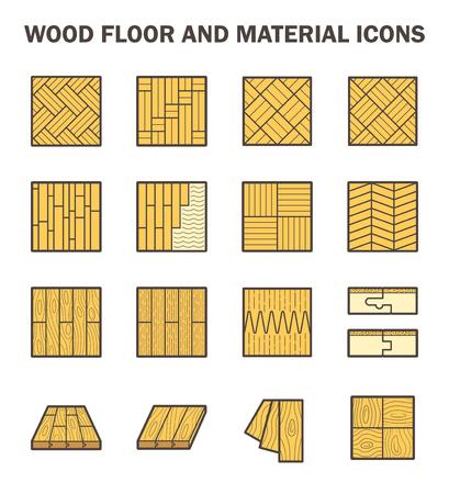 Plancher de bois et de matériel icône définit le design. Vecteurs
