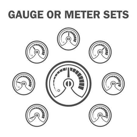 Gauge or meter icons sets design.