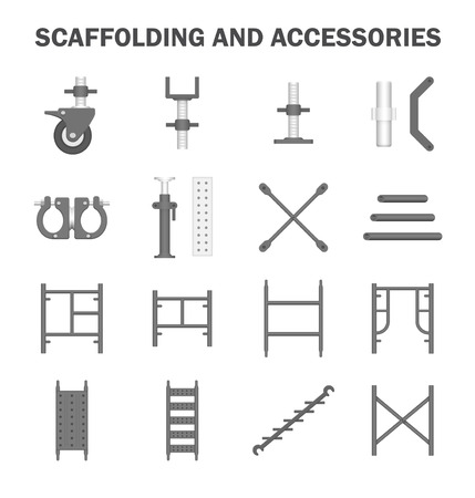 Scaffolding and accessories icon sets.