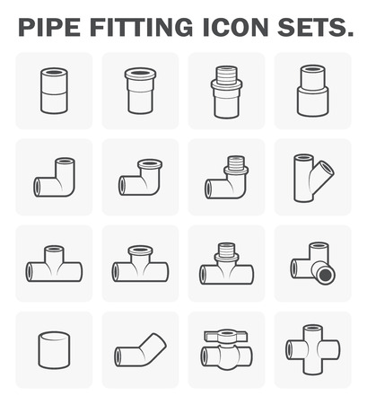 Pipe fitting icon sets design. Imagens - 55634782
