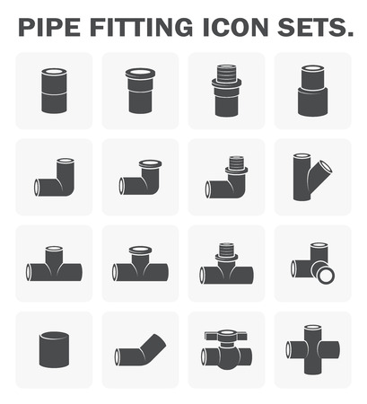 sanitary engineering: Pipe fitting icon sets design.