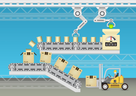 canned goods: Robot working with conveyor belt and forklift with blue background.