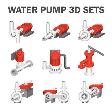 water pump: Water pump sets isolated on white.