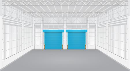 roller shutters: Interior of factory with shutter door.