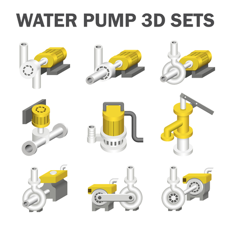 sewage system: Water pump sets isolated on white.