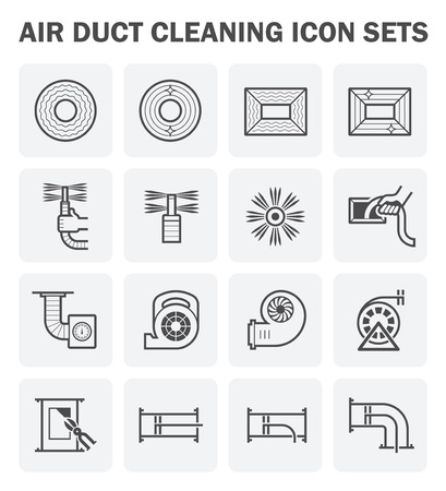 air duct: Air duct cleaning icon sets. (easy to edit icon) Illustration