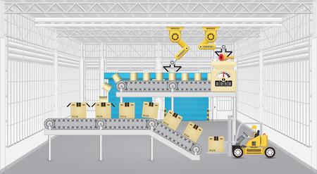 로봇 컨베이어 벨트와 공장 내부 지게차 작업. 일러스트
