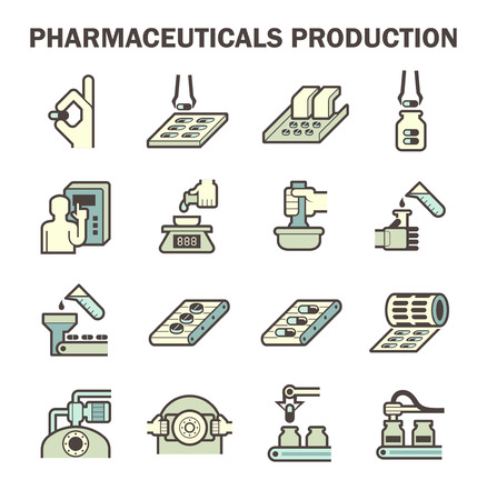Pharmaceutical production icon sets design. Vettoriali