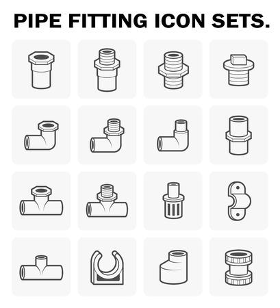 Pipe fitting icon sets design. Zdjęcie Seryjne - 56410939