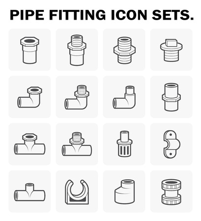fitting: Pipe fitting icon sets design.