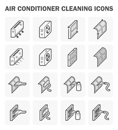air compressor: Air conditioner cleaning icon sets.