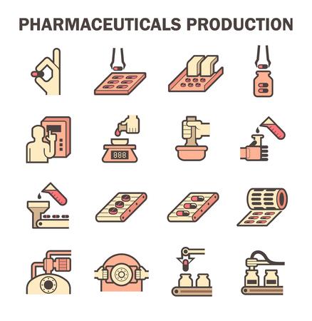 Pharmaceutical production icon sets design. Ilustração Vetorial
