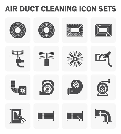 Air duct cleaning icon sets. (easy to edit icon)