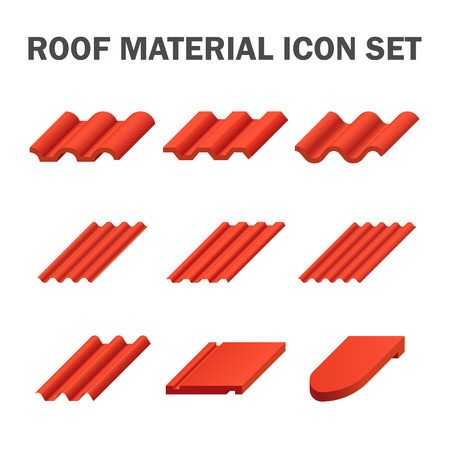 iron: Roof material icon set design. Illustration