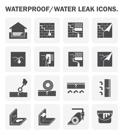 insulation: Waterproofing and water leaked icon sets design.
