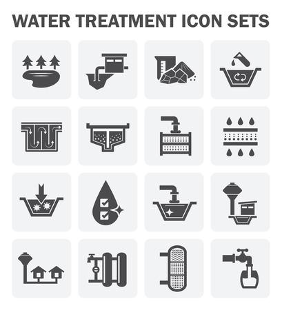 Traitement de l'eau, l'icône d'alimentation en eau fixe design.