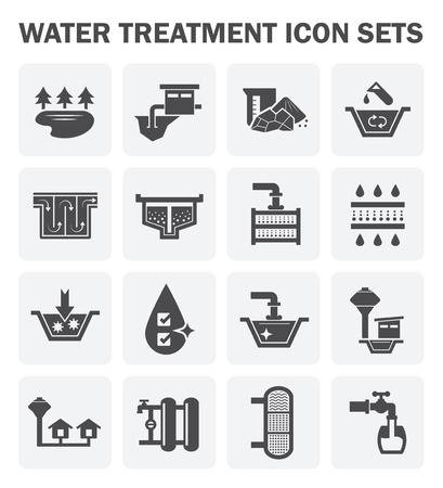 waterworks: Water treatment, water supply icon sets design. Illustration