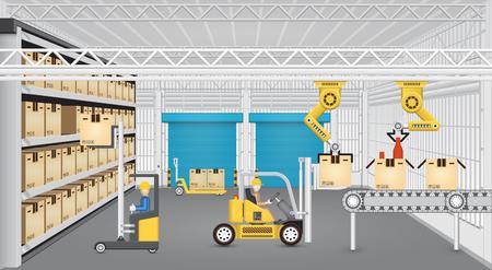 공장 내부 컨베이어 벨트 및 지게차 작업 로봇.