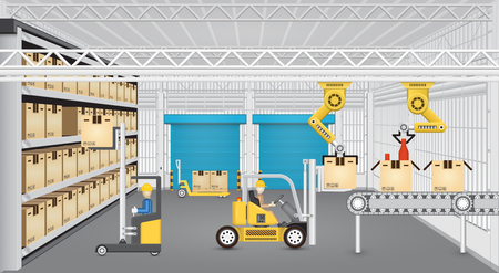 Robot working with conveyor belt and forklift inside factory. Vectores